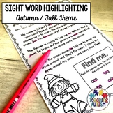 Sight Words Worksheets Autumn Fall
