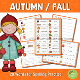 Autumn Fall Spelling Words Practice
