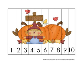 Autumn Fall Number Counting Strip Puzzles - 5 Different Designs