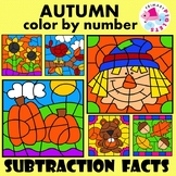 Autumn Fall Subtraction Facts Color by Number Set