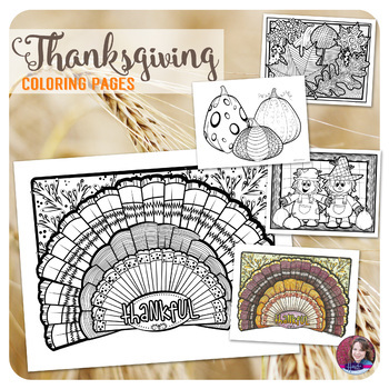 Fall & Thanksgiving Coloring Pages with turkeys, pumpkins, scarecrows