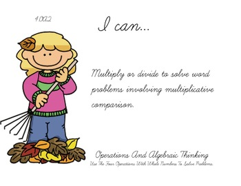 Autumn Fall Theme 4th grade math Common Core Posters fourth Grade Standards