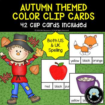 Autumn / Fall Themed Color Clip Cards