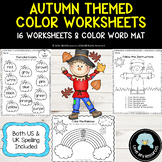Autumn / Fall Themed Color Worksheets