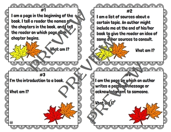 Autumn /  Fall-Themed Library Skills Printable Resources for Grades 3-5