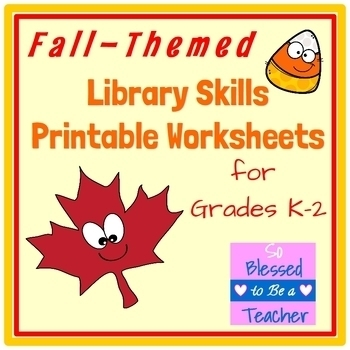Autumn / Fall-Themed Library Skills Printable Worksheets for Grades K-2