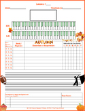 Autumn/Fall Themed Piano Lesson Assignment Sheet