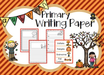 Autumn Fall Themed Primary Writing Paper with Vocabulary Words