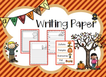 Autumn Writing Paper with Vocabulary Words