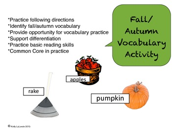Fall Autumn Vocabulary Activity for ESL or ELL Classrooms