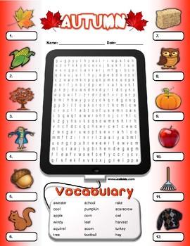 Autumn Fall Vocabulary Identify Activity