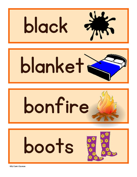 Autumn/Fall Word Wall/Pocket Chart Cards With Pictures