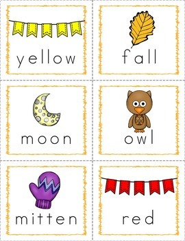 Autumn/Fall Word Wall Words and Flash Cards