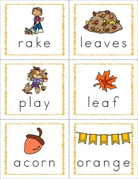 Autumn/Fall Word Wall Words and Flash Cards - FREE Sample