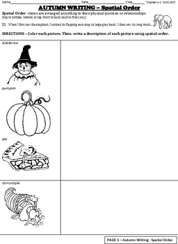 Autumn / Fall Writing - 5 front/back worksheets - Charts & Graphic Organizers