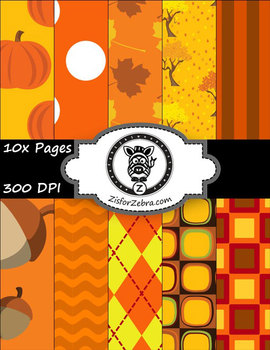 Autumn Fall paper pack 3 - Commercial Use ok