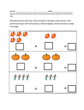 Autumn Fall themed addition; combining sets with visuals; special education