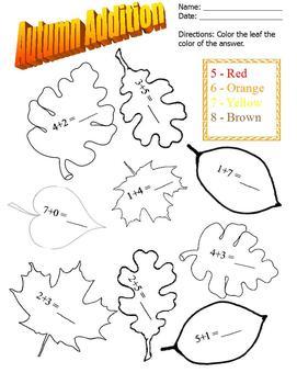 November basic addition; color leaf based on answer; special ed