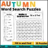 Autumn Word Search: Fill-in-and-Find Puzzles (Vocabulary Fall)