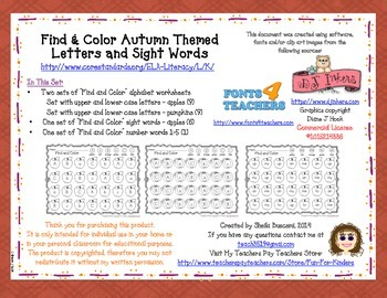 Autumn Find and Color: Alphabet Letters & Sight Words