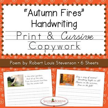 Autumn Fires Copywork and Handwriting - Poem by Robert Louis Stevenson