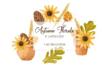 Autumn Florals Watercolor Clipart