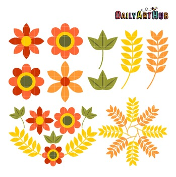 Autumn Flowers Art Clip Art - Great for Art Class Projects!