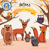 Autumn Forest Animals Clipart - Color and B&W