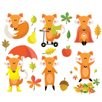 Autumn Fox - Clipart & Vector Set - Instant Download