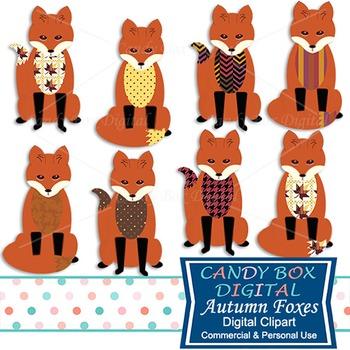 Autumn Foxes Clip Art