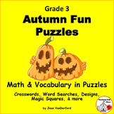 AUTUMN FUN - Halloween Riddles, Puzzles, Designs | Fall Vocabulary | MATH | Gr 3