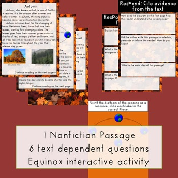 Autumn GOOGLE Paired Passages & Extended Response and Text Dependent Questions