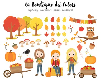 Autumn Girls Clipart - PNG Cute Clip Art Fall Graphics - S