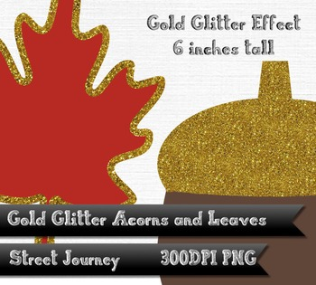 Autumn Gold Glitter Acorn Leaf and Branch Clip Art Collection PNG 300DPI