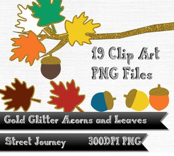 Autumn Gold Glitter Acorn Leaf and Branch Clip Art Collect