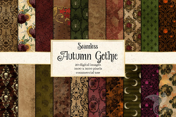 Autumn Gothic digital papers, rustic halloween skull scrapbook paper backgrounds