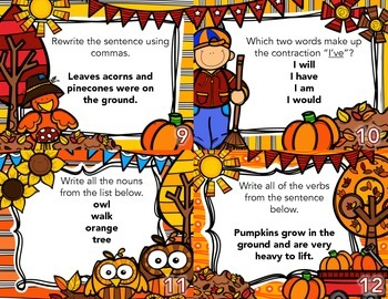 Autumn Grammar Task Cards