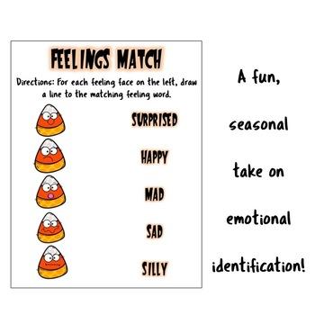 Autumn/Halloween Feelings Match Worksheet: Emotional ID