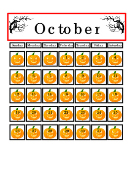 Autumn Halloween Pumpkin October Month 31 Days Counting Calendar Match Game 4pgs