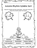 Autumn, Halloween, and Thanksgiving Rhythm Sort