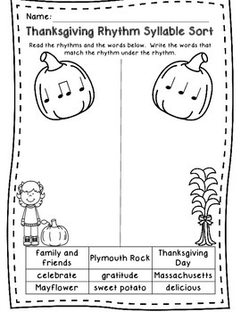 Autumn, Halloween, and Thanksgiving Rhythm Sort