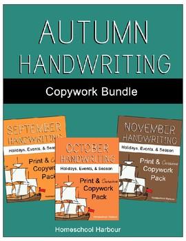 Autumn Handwriting Copywork Bundle Print/Cursive