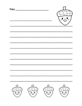 """Autumn Happy Acorn"" Writing Sheets (black line)"