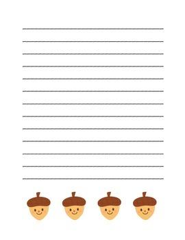 """Autumn Happy Acorn"" Writing Sheets  (color & black line)"