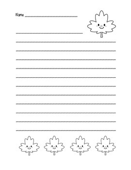 """Autumn Happy Leaf 3"" Writing Sheets  (black line)"