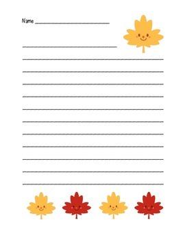 """Autumn Happy Leaf 3"" Writing Sheets  (color & black line)"