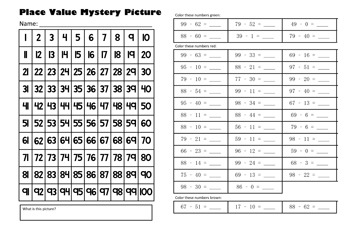 Autumn Harvest Apple Subtraction Math Mystery Picture - 11x17 - Back To School