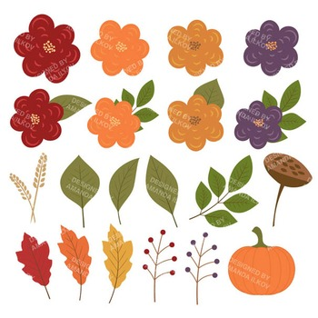 Autumn Harvest Wreath & Fall Clipart