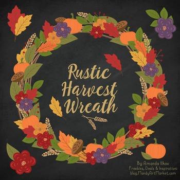 Autumn Harvest Wreath & Fall Clipart