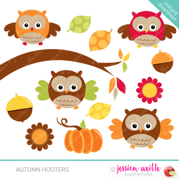 Autumn Hooters Cute Digital Clipart, Halloween Clip Art